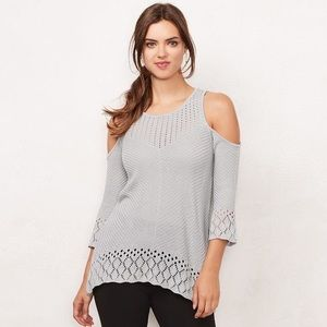 Lauren Conrad Crochet Cold Shoulder Sweater